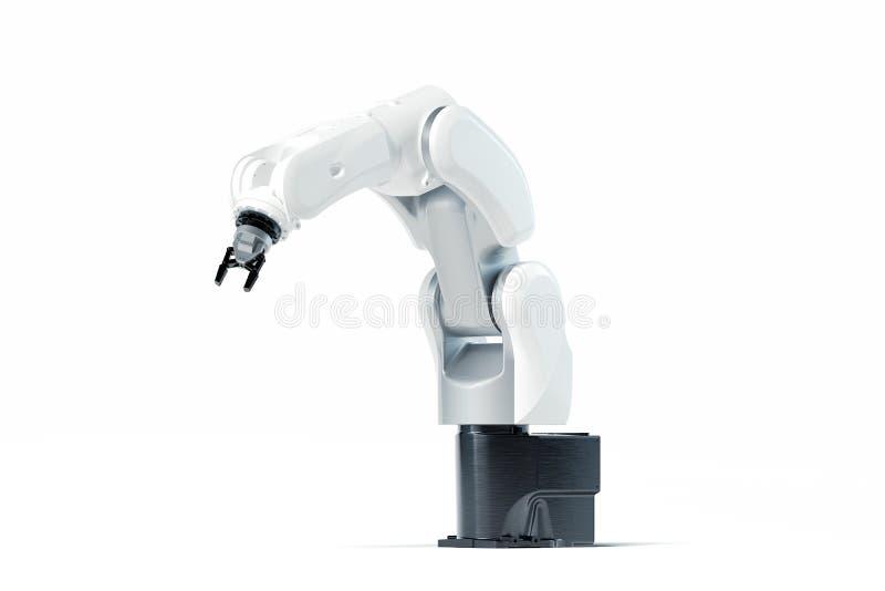 Bras robotique sur le fond blanc Manipulateur mécanique de main rendu 3d illustration libre de droits