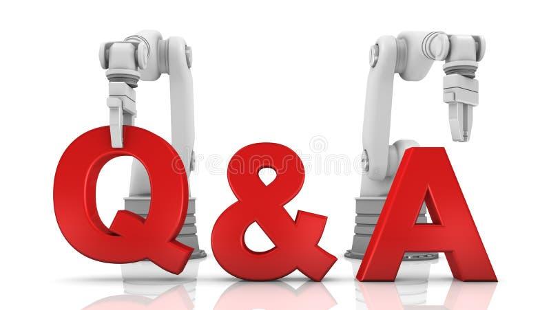 Bras robotiques industriels établissant le mot de Q&A illustration de vecteur