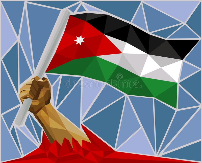 Bras soulevant le drapeau national de la Jordanie illustration de vecteur