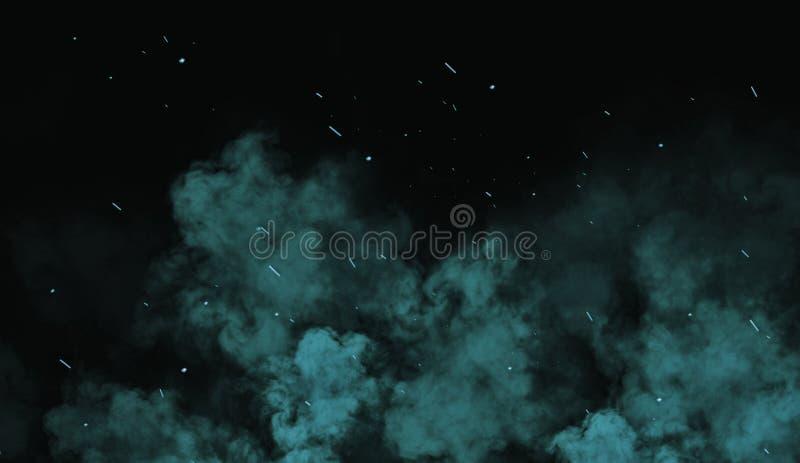 Brasas coloridas das partículas de Perftect no fundo folhas de prova enevoadas da textura da névoa do fumo foto de stock