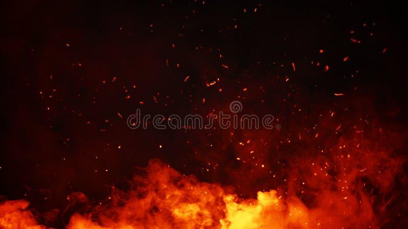 Brasas das partículas do fogo de Perftect no fundo folhas de prova enevoadas da textura da névoa do fumo fotografia de stock royalty free
