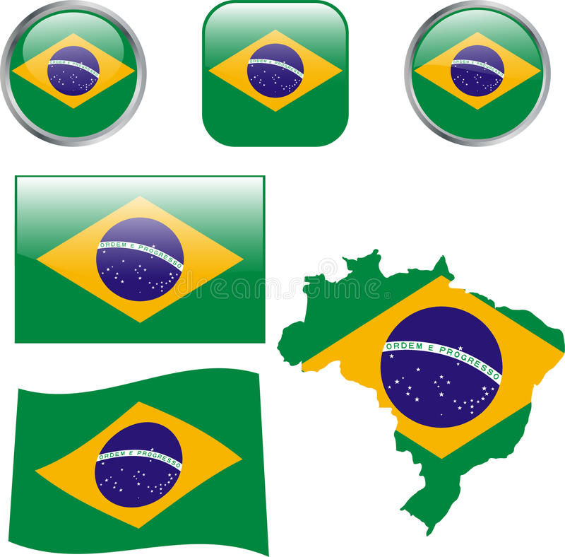 Brasil. Map, flag and buttons - illustration stock illustration