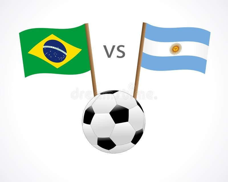 Brasil contra Argentina, bandeiras da equipe nacional no fundo branco ilustração royalty free