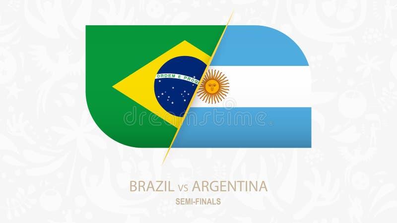 Brasil contra Argentina, Semi-finais da competição do futebol ilustração royalty free