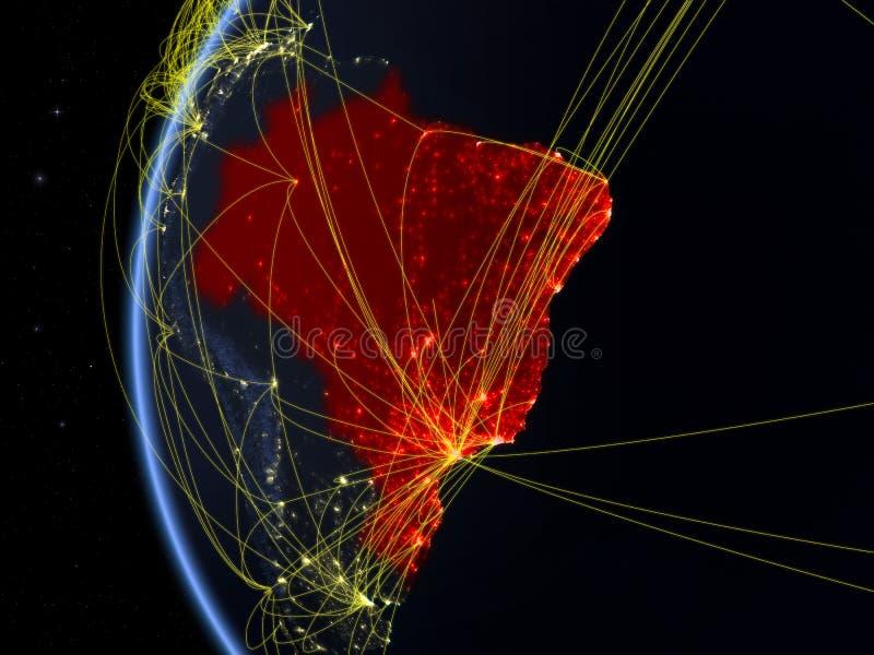 Brasil do espaço com rede fotografia de stock