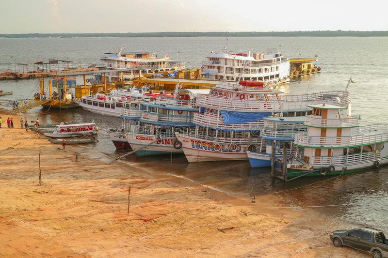 Brasil ferry boats in rain forest amazonia royalty free stock photos
