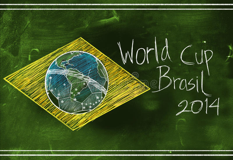 Brasil flag 2014 World Cup Sketch stock illustration