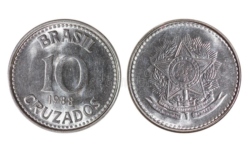 Brasil metalu pieniądze, 10 cruzados, rok 1988 obraz stock