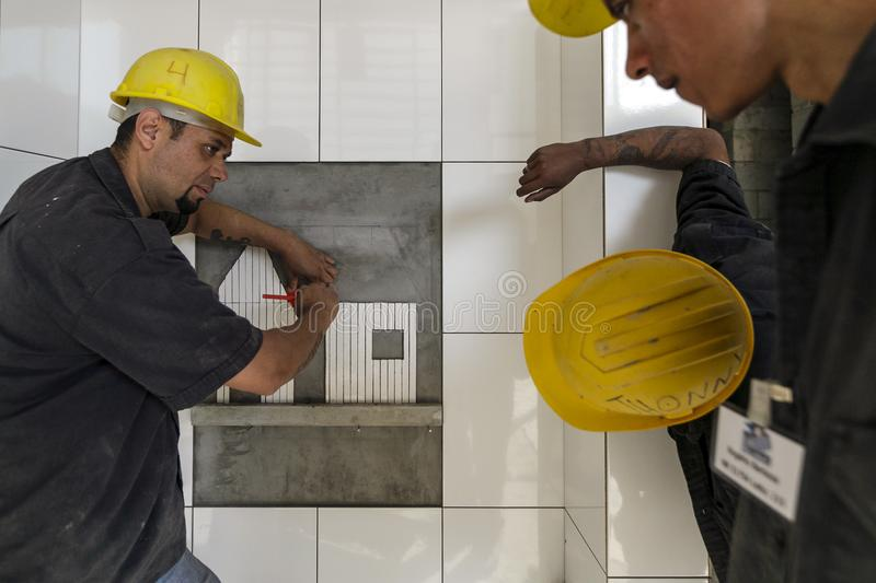 Brasil - San Paolo - The ONG Sermig - professional school for bricklayers stock image