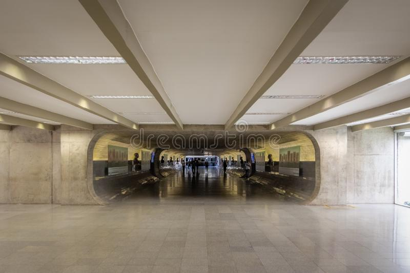 Time tunnel of Senate at Brazilian National Congress connecting offices and plenary buildings - Brasilia, Distrito Federal, Brazil stock photo