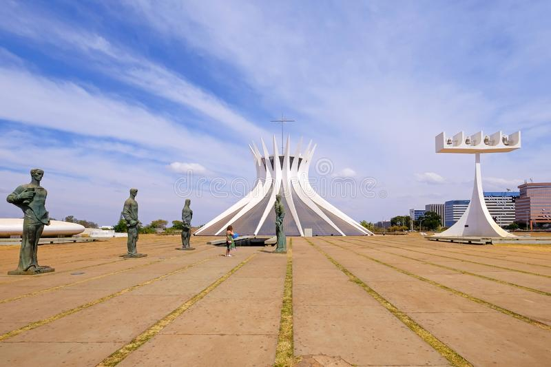 Brasilia, Brazil, August 7, 2018: Metropolitan Cathedral Of Our Lady Of Aparecida, designed by Oscar Niemeyer, Brazil stock images