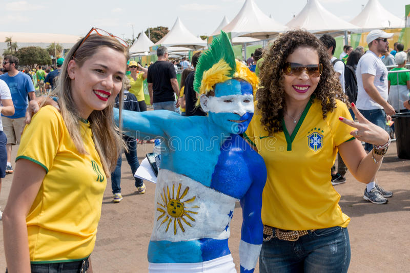 Brasilia, Brazil-August 10, 2016: Honduran and Brazilian Soccer Fans royalty free stock photography