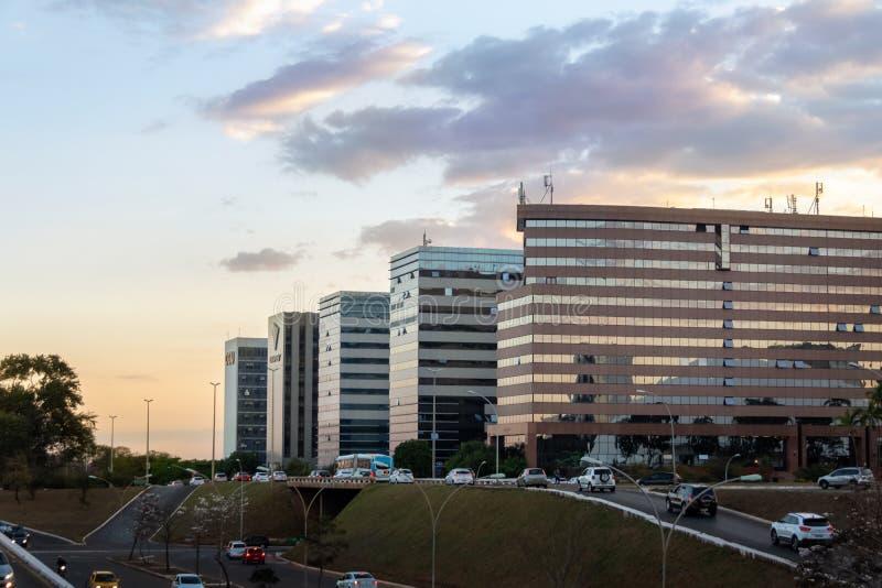 Brasilia budynki przy zmierzchem - Brasilia, Distrito Federacyjny, Brazylia zdjęcie stock