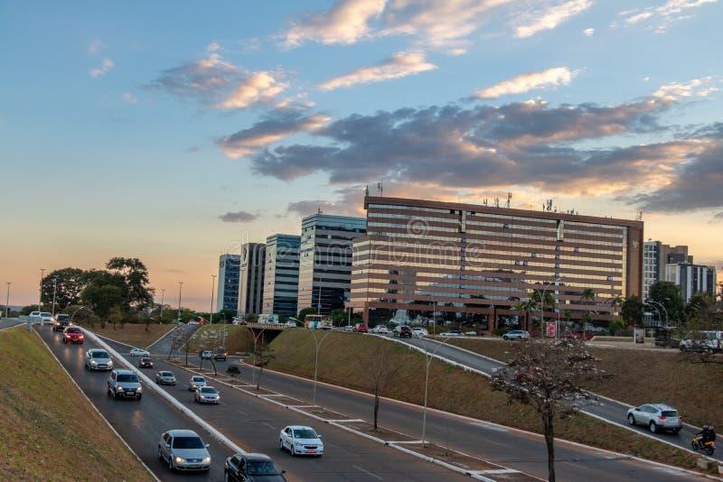Brasilia budynki przy zmierzchem - Brasilia, Distrito Federacyjny, Brazylia fotografia stock