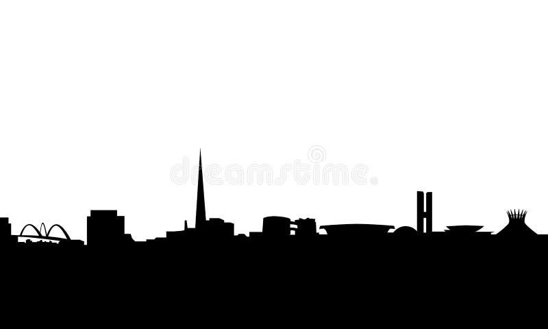Brasilia skyline silhouette vector. Vector illustration of the skyline of brazilian capital brasilia, with most famous monuments and landmarks