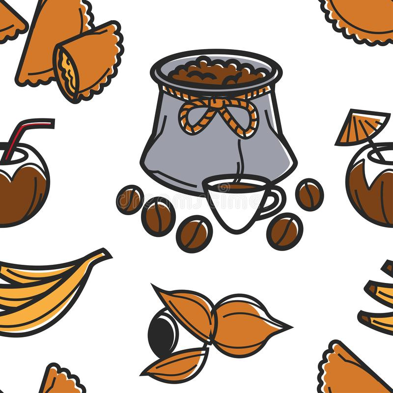 Brasilianische Nahrung und nahtlose Musterkaffeefrüchte und -gebäck trinken vektor abbildung