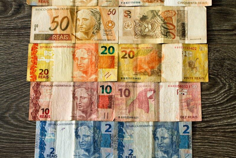 Brasilianische Reaisbanknoten stockbilder