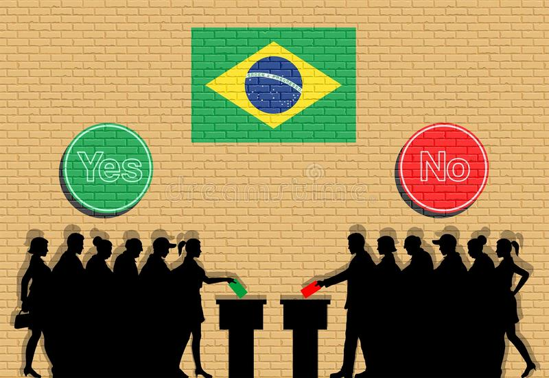 Brasilianische Wähler drängen Schattenbild in Brasilien-Wahl mit dem ja lizenzfreie abbildung