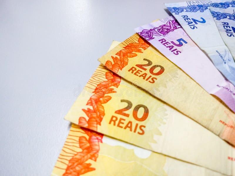 Brasilianische wirkliche Anmerkungen 2 bis 20 Reais lizenzfreies stockbild