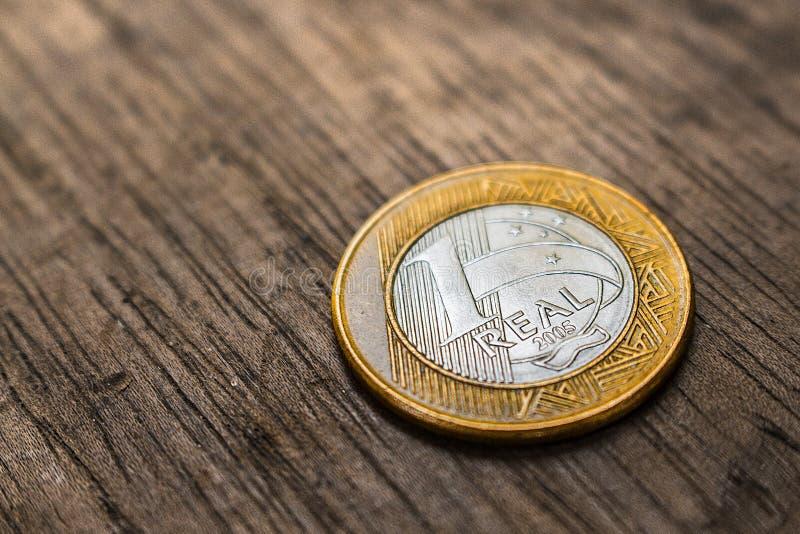 Brasilianische wirkliche Münze lizenzfreies stockbild