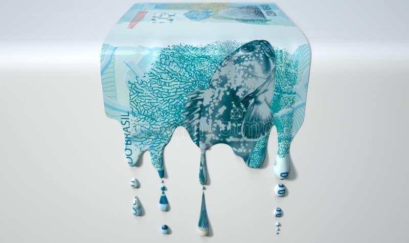 Brasilianische wirkliche schmelzende Bratenfett-Banknote stockbild