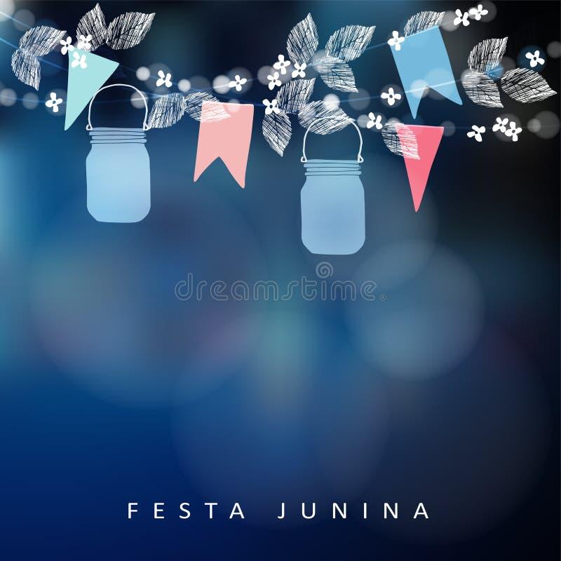 Brasilianjuni parti, festajunina Rad av ljus, lyktor för murarekrus och pappersflaggor Solståndgirland av sidor stock illustrationer