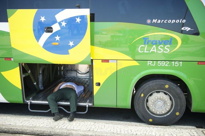 Brasiliansk bussförare Napping Inside Bus arkivfoton