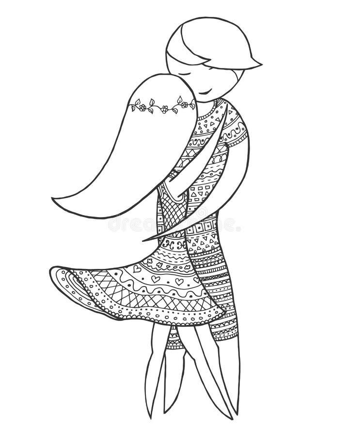 Brasiliansk dans för dubbletter Tova för kvinna- och mandanszen Vektorfärgläggningbok Zentangle forro stock illustrationer