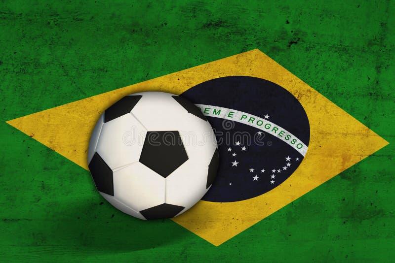 Brasiliansk flagga med fotbollbollen royaltyfri bild