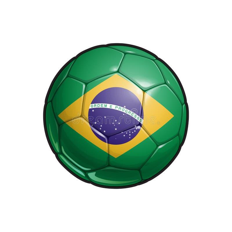 Brasiliansk flaggafotboll - fotbollboll stock illustrationer