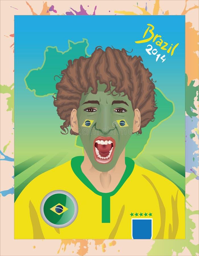 Brasiliansk fotbollsfan med stort hår royaltyfri illustrationer