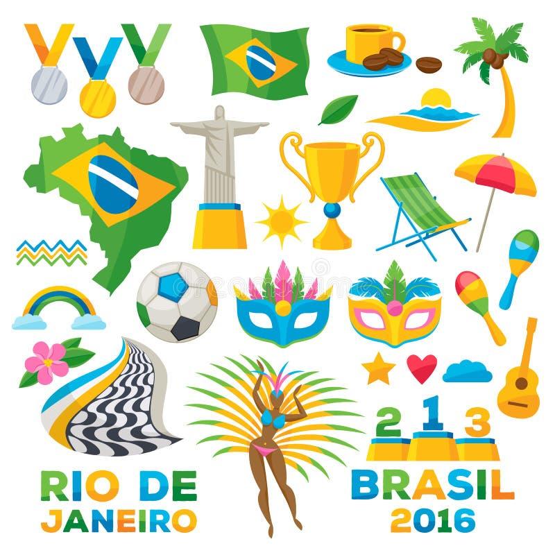Brasiliansk illustration för vektor för symbolssymboluppsättning royaltyfri illustrationer
