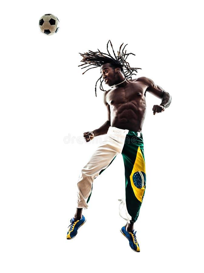 Brasiliansk kontur för fotboll för överskrift för svart manfotbollspelare arkivbilder