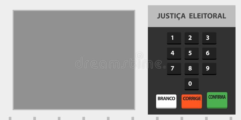 Brasiliansk rösta urnaillustration för elektronisk maskin stock illustrationer