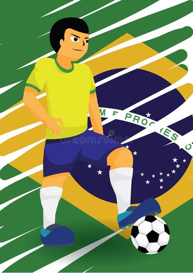 brasiliansk spelarefotboll vektor illustrationer