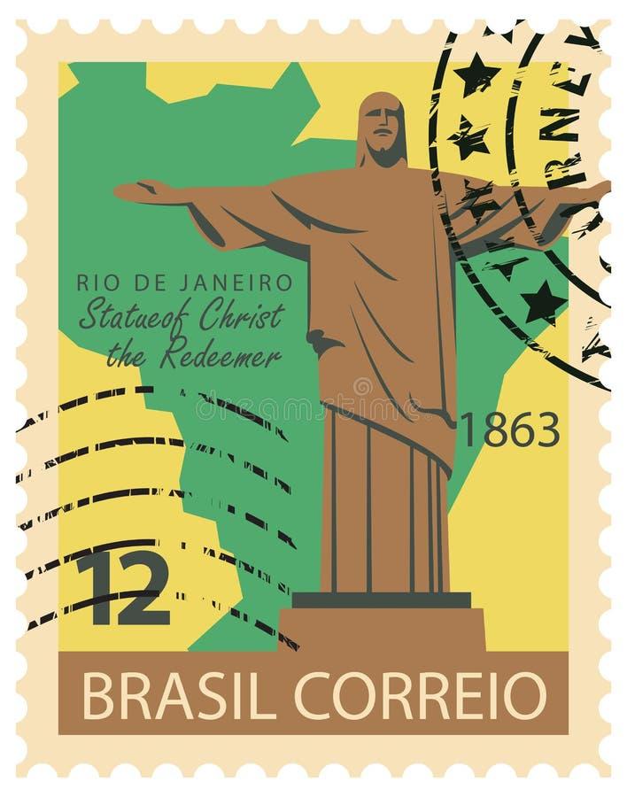 Brasiliansk stämpel med statyn av Kristus stock illustrationer