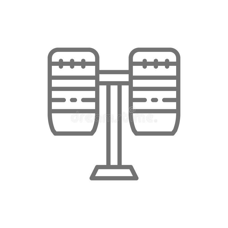 Brasilianska valsar, slagverk, musikinstrumentlinje symbol stock illustrationer