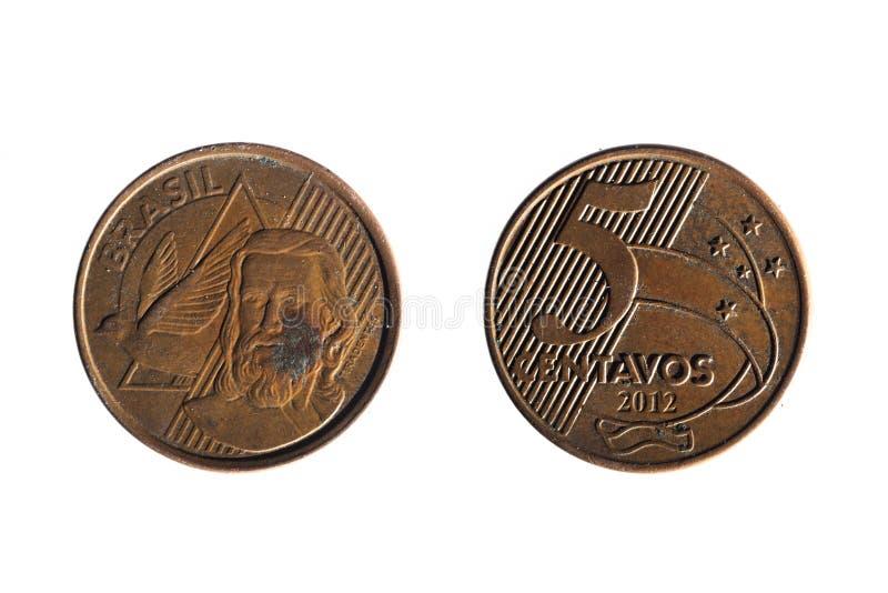 Brasilianskt verkligt fem cent mynt arkivbilder