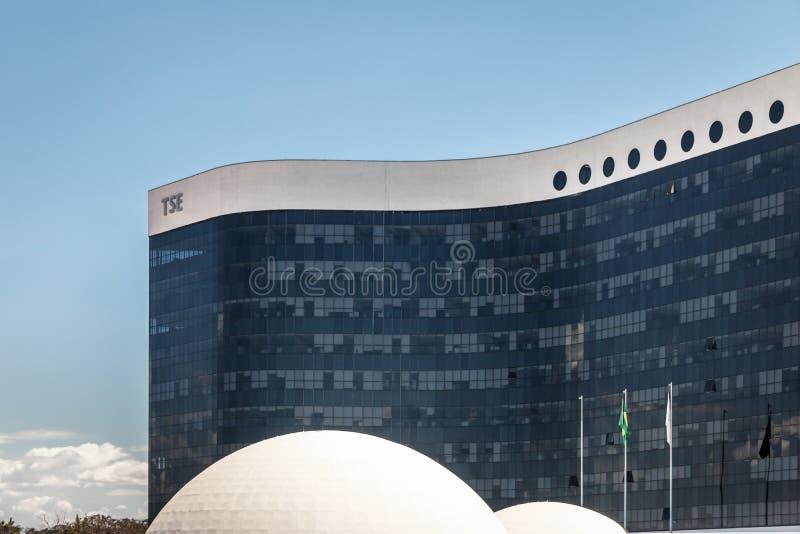Brasilien överlägsen val- domstol eller domstolöverman Eleitoral - TSE Building - Brasilia, Brasilien royaltyfria bilder