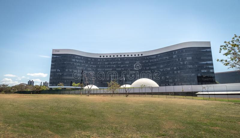 Brasilien överlägsen val- domstol eller domstolöverman Eleitoral - TSE Building - Brasilia, Brasilien arkivfoto