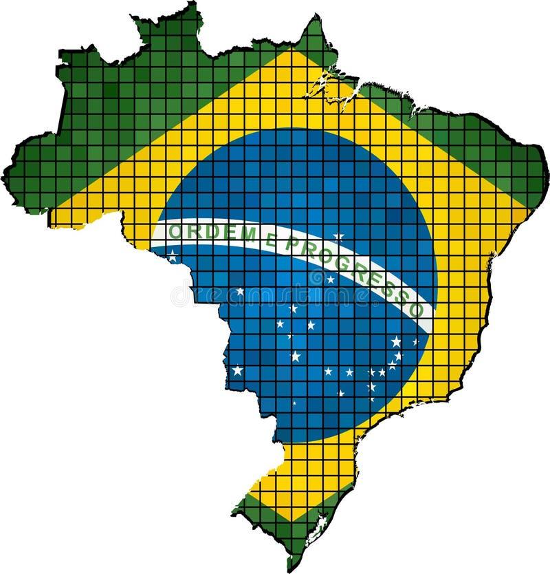 Brasilien översikt med flaggan inom vektor illustrationer