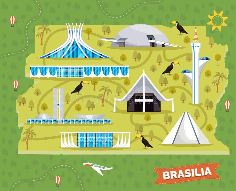 Brasilien översikt med sightställen och gränsmärken stock illustrationer