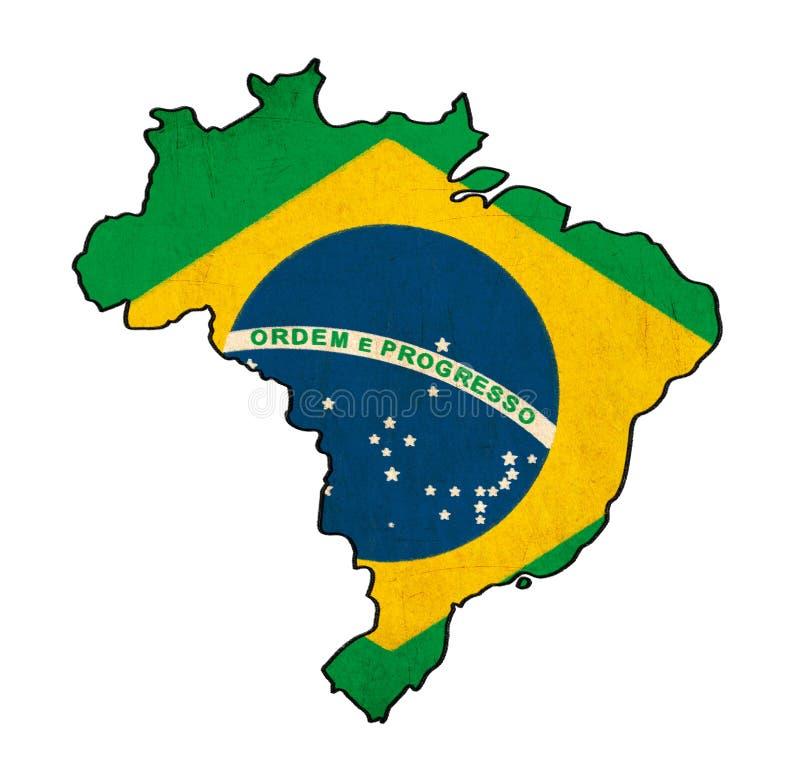 Brasilien översikt på Brasilien flaggateckning stock illustrationer