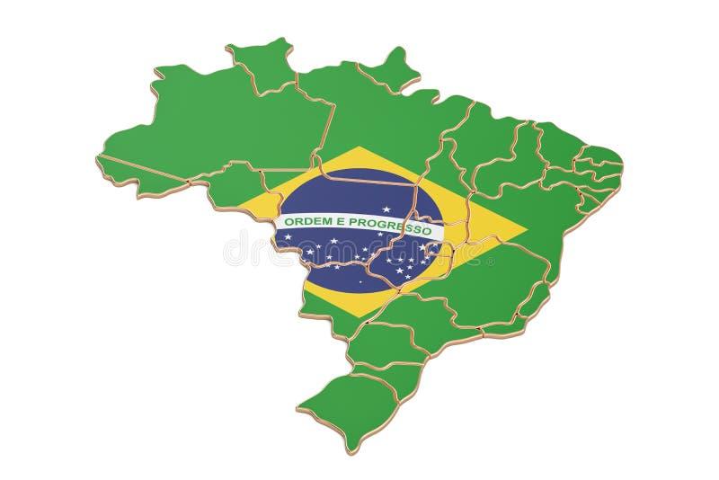 Brasilien översiktscloseup, tolkning 3D royaltyfri illustrationer