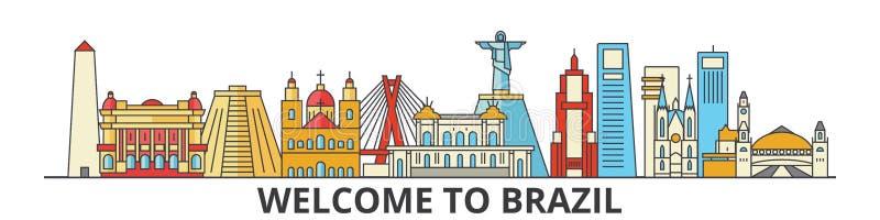 Brasilien översiktshorisont, plan tunn linje symboler, gränsmärken, illustrationer för brasilian Brasilien cityscape, brasiliansk royaltyfri illustrationer