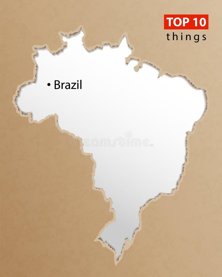 Brasilien översiktsvektor Brasilianska översikter tillverkar papperstextur Beståndsdel för design för tom information om mall idé vektor illustrationer