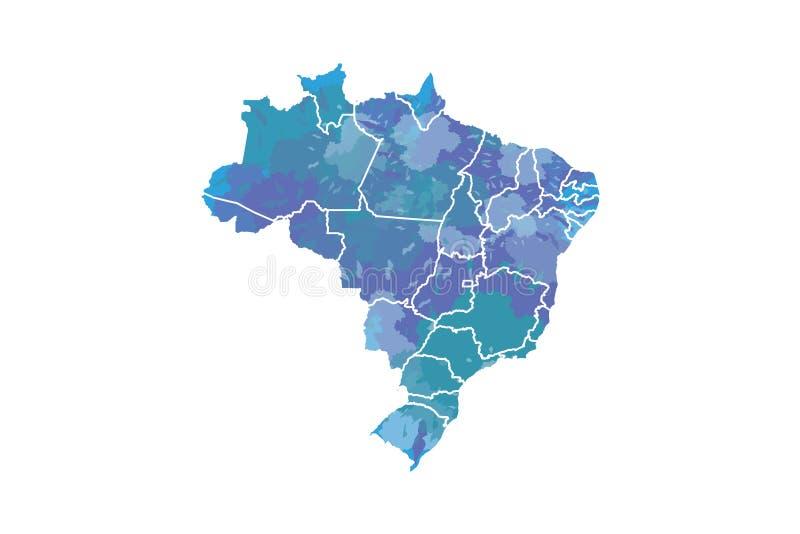 Brasilien-Aquarellkarten-Vektorillustration in der blauen Farbe mit verschiedenen Regionen auf weißem Hintergrund unter Verwendun lizenzfreie abbildung