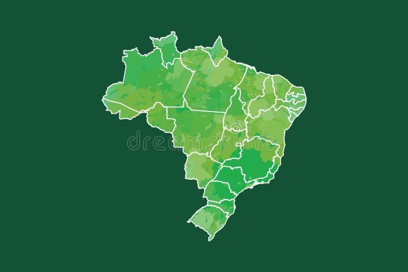 Brasilien-Aquarellkarten-Vektorillustration in der grünen Farbe mit verschiedenen Regionen auf dunklem Hintergrund unter Verwendu stock abbildung