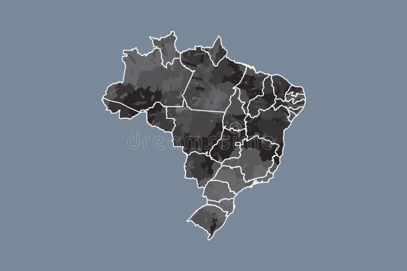 Brasilien-Aquarellkarten-Vektorillustration in der schwarzen Farbe mit verschiedenen Regionen auf dunklem Hintergrund unter Verwe lizenzfreie abbildung