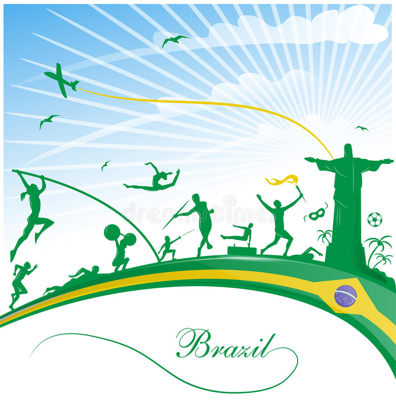 Brasilien bakgrund med flaggan royaltyfri illustrationer